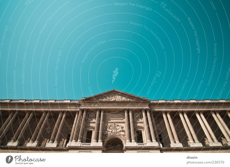 Palais du Louvre Paris Frankreich Europa Hauptstadt Stadtzentrum Menschenleer Burg oder Schloss Bauwerk Gebäude Architektur Fassade Säule Dachgiebel Tor Eingang