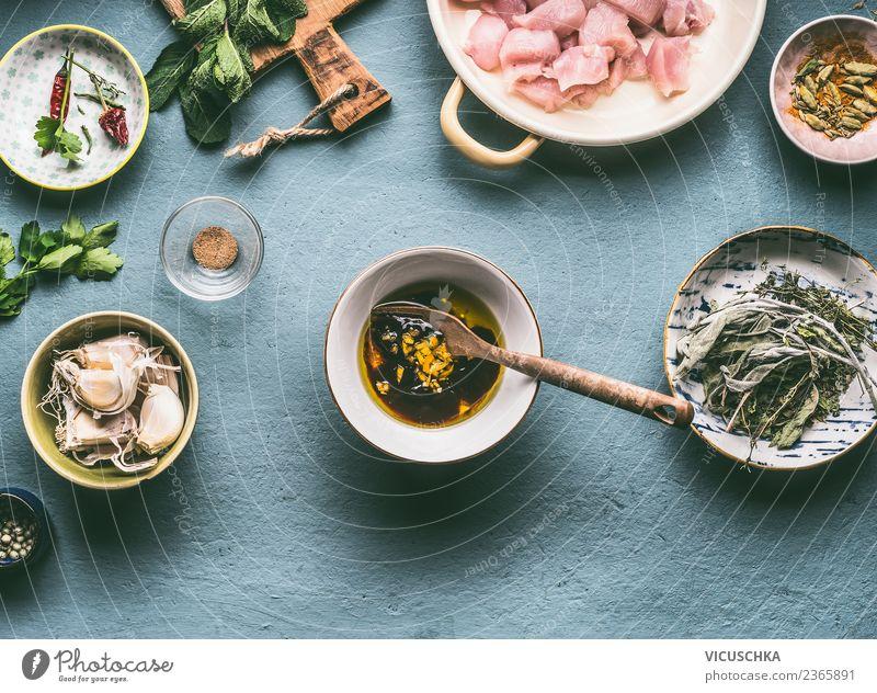 Öl und Sojasauce Marinade Gesunde Ernährung Foodfotografie gelb Gesundheit Stil Lebensmittel Design Tisch Kräuter & Gewürze Küche Bioprodukte Essen zubereiten