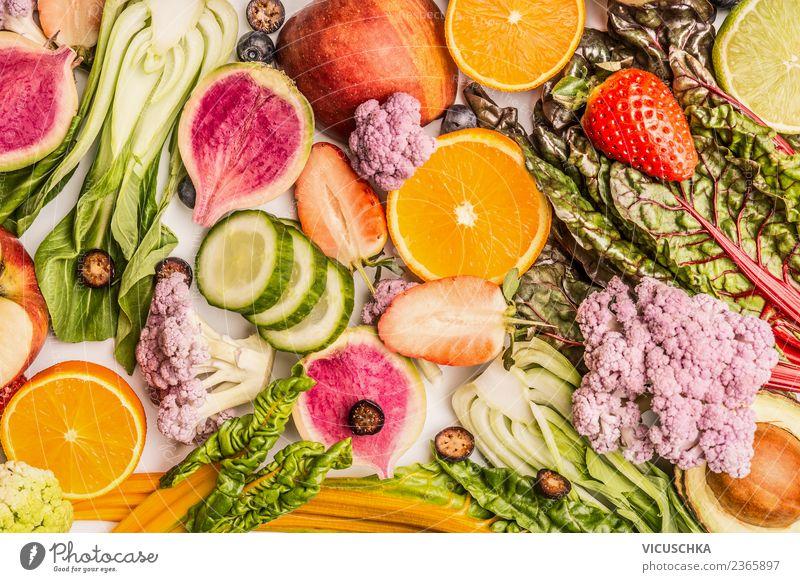 Bunter Obst- und Gemüse Hintergrund Lebensmittel Frucht Apfel Orange Ernährung Bioprodukte Vegetarische Ernährung Diät kaufen Stil Design Gesundheit