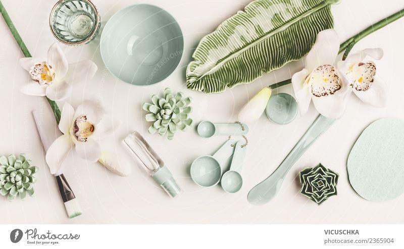 Grüne kosmetiche Zubehör schön grün Blume Gesicht Gesundheit Stil Design Haut Wellness trendy Sammlung Körperpflege Kosmetik Pinsel Creme Ornament