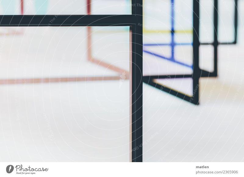 Linien und Flächen blau schwarz gelb braun rosa Metall Streifen vertikal kreuzen
