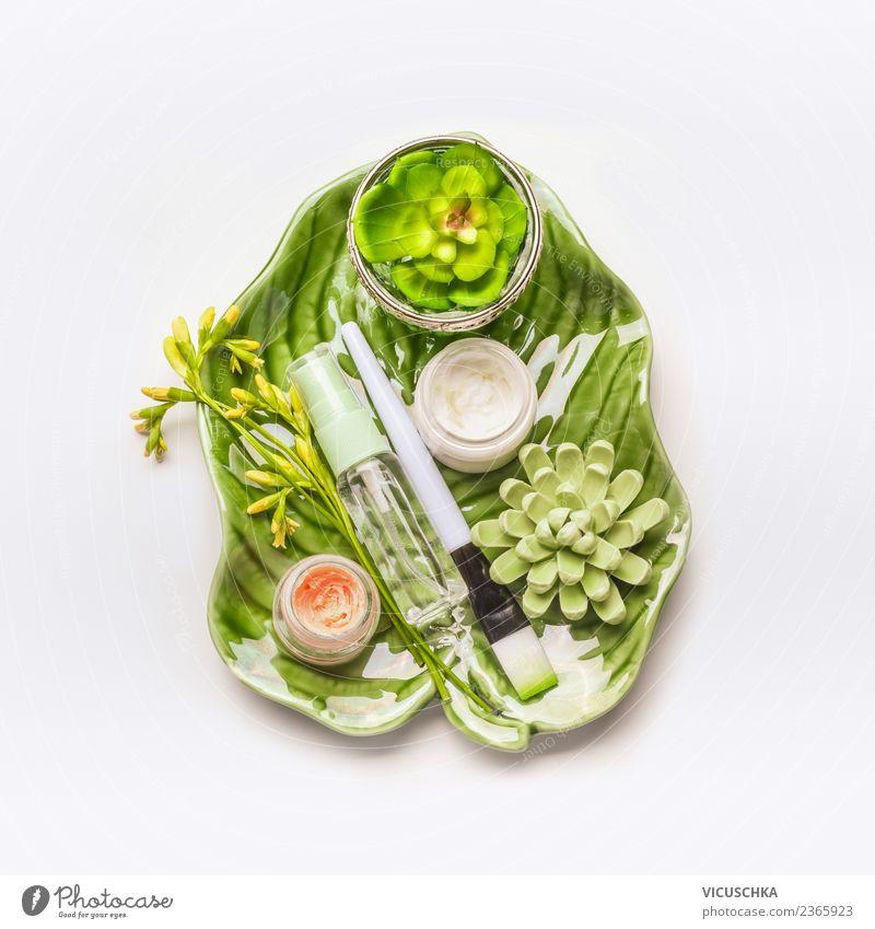 Grüne Hautpflege Kosmetik Natur Pflanze schön grün Blume Gesicht Leben Gesundheit Gesundheitswesen Stil Design Wellness Schreibtisch Creme Spa