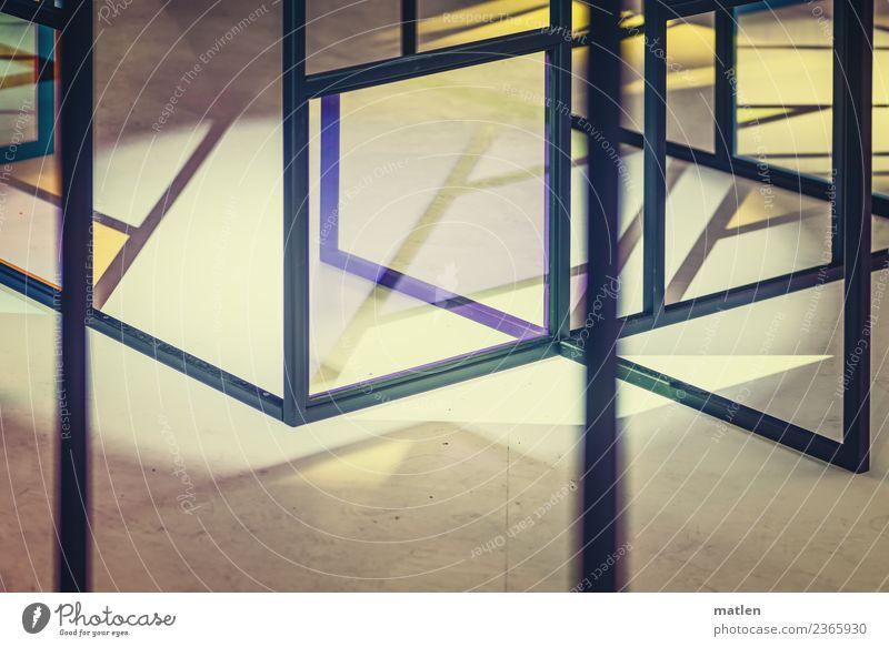 virtuell Menschenleer Fassade Fenster Glas Metall Linie Netzwerk eckig blau braun gelb violett rosa Farbfoto Gedeckte Farben Nahaufnahme abstrakt Muster