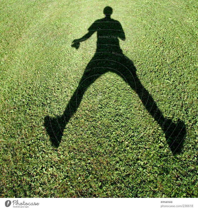 Schattenspringer Mensch Mann grün Sommer Freude Erwachsene Wiese Leben Spielen Gefühle Bewegung Gras springen Stimmung Freizeit & Hobby maskulin