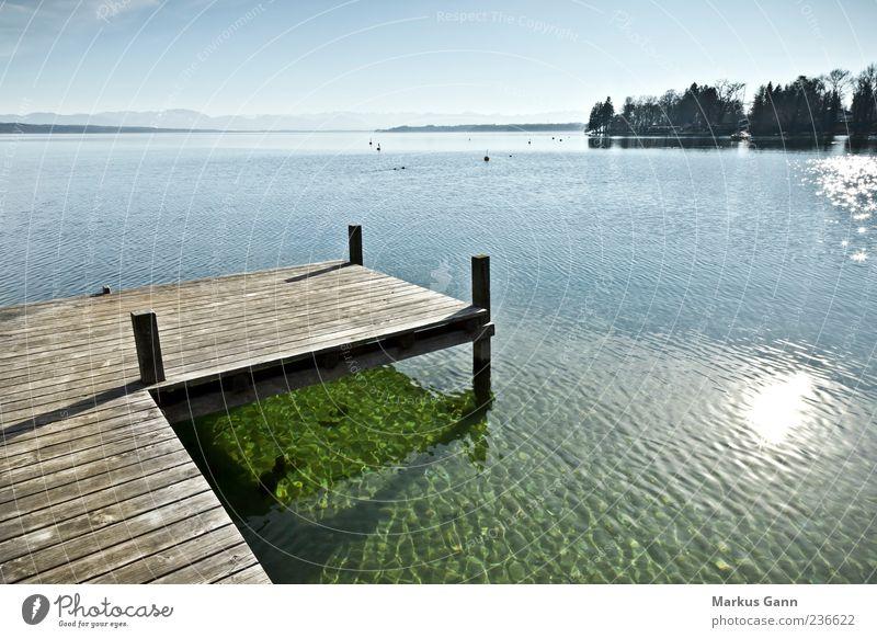 Steg am See Erholung ruhig Ferien & Urlaub & Reisen Natur blau grau Anlegestelle Holz Reflexion & Spiegelung Sonne horizontal Seeufer nass Wärme Farbfoto