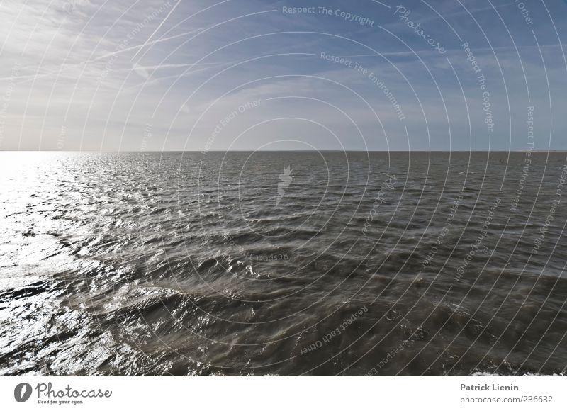Spiekeroog | Du und Meer Himmel Wasser Linie Wellen Urelemente Nordsee Wattenmeer