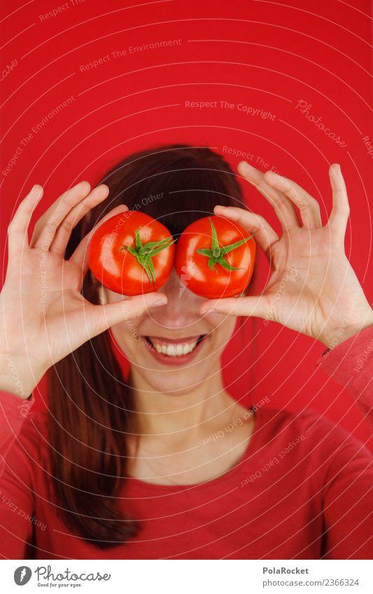 #A# Tomaten auf den Augen Kunstwerk ästhetisch Kitsch Tomatensaft Tomatensuppe Sprichwort Symbole & Metaphern Hand festhalten verdecken Freude spaßig Spaßvogel