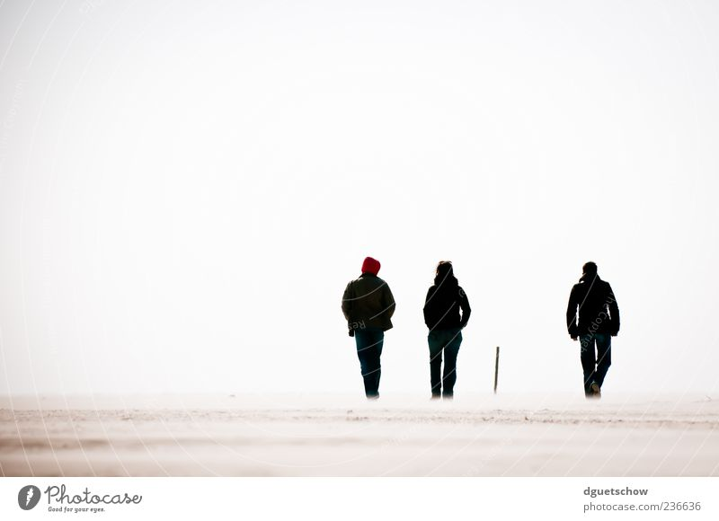 3 1/2 Ausflug Strand Mensch Frau Erwachsene Mann Sand Luft gehen Zufriedenheit Erholung Perspektive St. Peter-Ording Spaziergang Farbfoto Außenaufnahme Tag