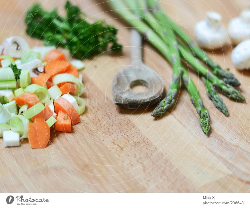 Suppengrün Ernährung Lebensmittel klein frisch Kochen & Garen & Backen Gesunde Ernährung Gemüse Kräuter & Gewürze lecker geschnitten Möhre Löffel Besteck