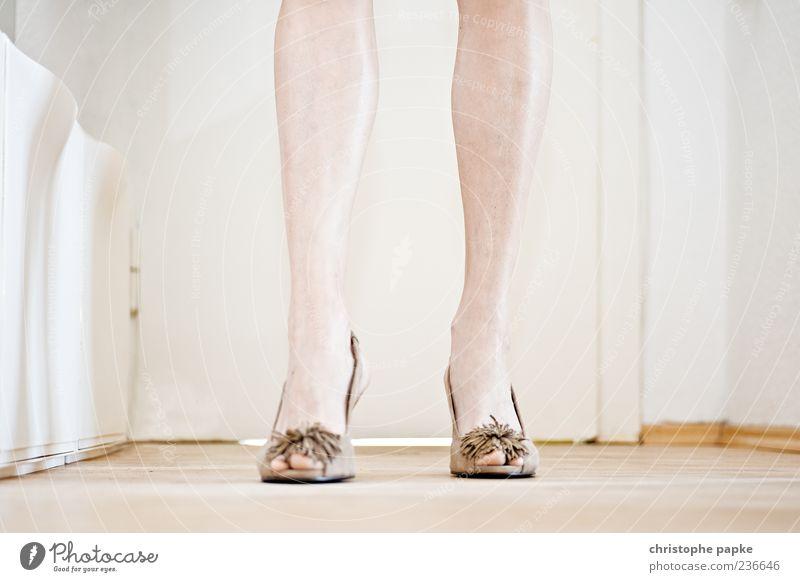 Nudelook feminin Beine Fuß Schuhe Damenschuhe gehen stehen elegant schön Stil Innenaufnahme Nahaufnahme Schwache Tiefenschärfe Unterschenkel braun Mode