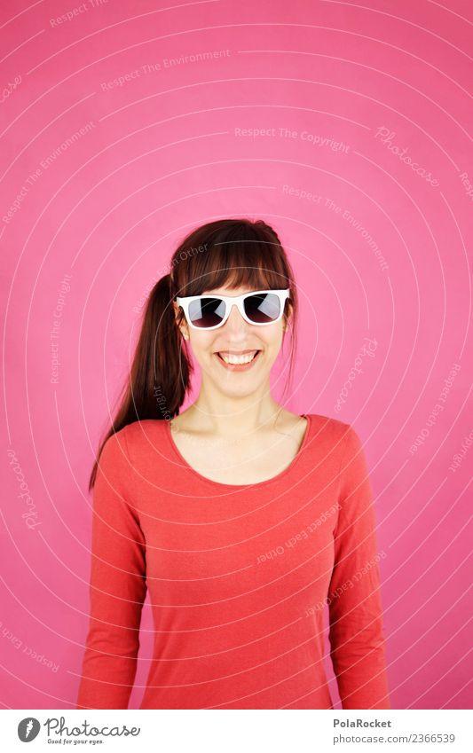 #A# Smile Magenta Kunst ästhetisch Frau Oberkörper Freundlichkeit happy Glück Ostern rosa magenta Lächeln Sonnenbrille Farbfoto mehrfarbig Innenaufnahme