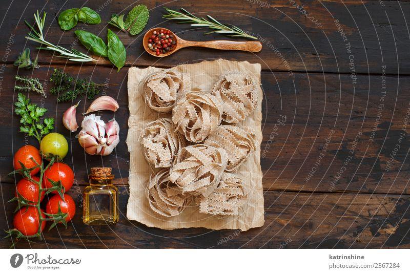 grün rot Blatt dunkel braun Textfreiraum frisch Tisch Tradition Diät Mahlzeit Vegetarische Ernährung Tomate rustikal roh Zutaten