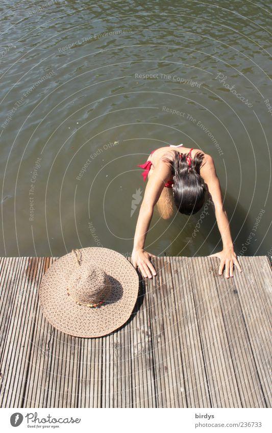 Und der Hut schaut zu Schwimmen & Baden Sommer Junge Frau Jugendliche 1 Mensch 18-30 Jahre Erwachsene Wasser Schönes Wetter Seeufer Erholung feminin