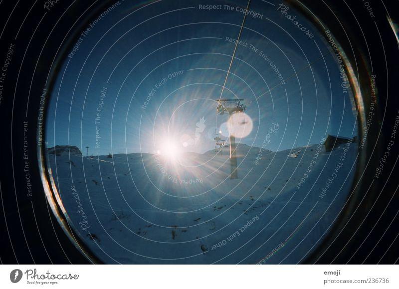Wintereinbruch Himmel Natur blau Sonne Umwelt kalt Schnee Berge u. Gebirge Eis Klima Frost Alpen Schönes Wetter analog Wolkenloser Himmel
