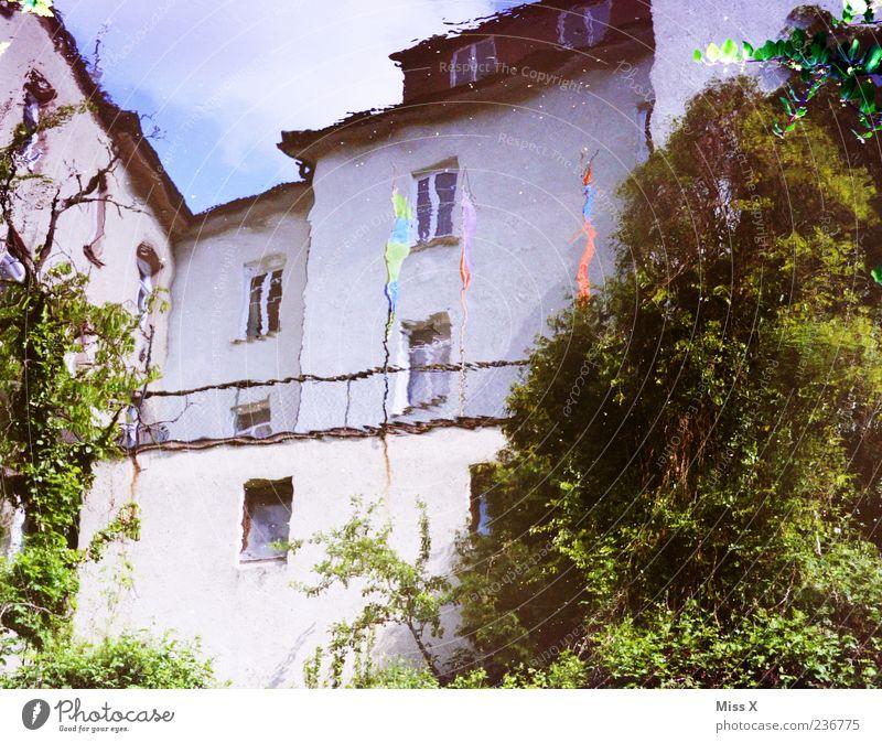 Spiegel Wasser Haus grün weiß Pfütze Wasserspiegelung Farbfoto mehrfarbig Außenaufnahme Menschenleer Reflexion & Spiegelung Unschärfe