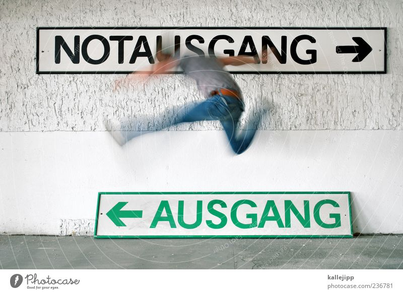 richtungswechsel Mensch Mann Erwachsene Bewegung springen Schilder & Markierungen maskulin Verkehr Geschwindigkeit Schriftzeichen planen Ziel Ende Zeichen