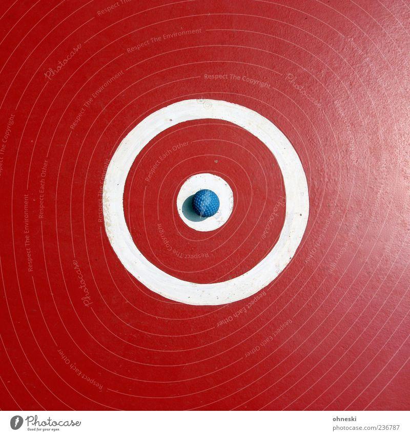 Abschlag Freizeit & Hobby Spielen Minigolf Ausflug Sport Ballsport Golfball Sportstätten Zeichen Kreis rund rot Punkt Farbfoto Außenaufnahme abstrakt