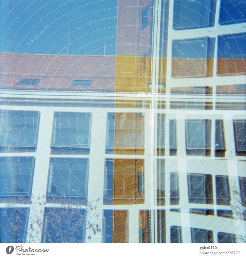 ‡‡‡‡ Himmel blau weiß Stadt Haus Fenster Architektur Gebäude Kunst Linie braun Glas Fassade elegant außergewöhnlich Design
