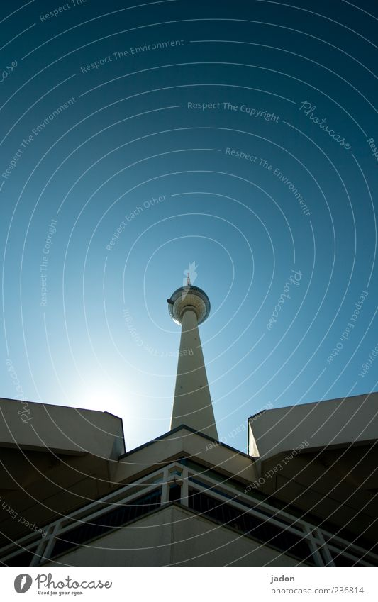 in voller länge. Tourismus Sightseeing Städtereise Himmel Wolkenloser Himmel Turm Bauwerk Sehenswürdigkeit Wahrzeichen groß hoch lang blau standhaft Stolz Stadt