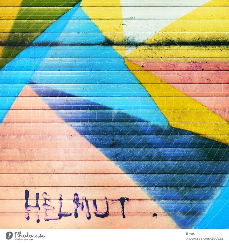 Kunstliebhaber blau Farbe Haus gelb Farbstoff Fassade glänzend dreckig Dekoration & Verzierung Gemälde Stadtzentrum Straßenkunst parallel Dreieck Jalousie