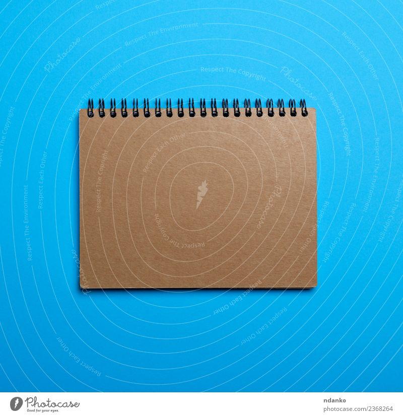 Notizbuch mit braunen leeren Blättern Tisch Schule Business Papier blau Farbe Idee Notebook Top Aussicht Hintergrund blanko Entwurf Raum Hinweis Tagebuch
