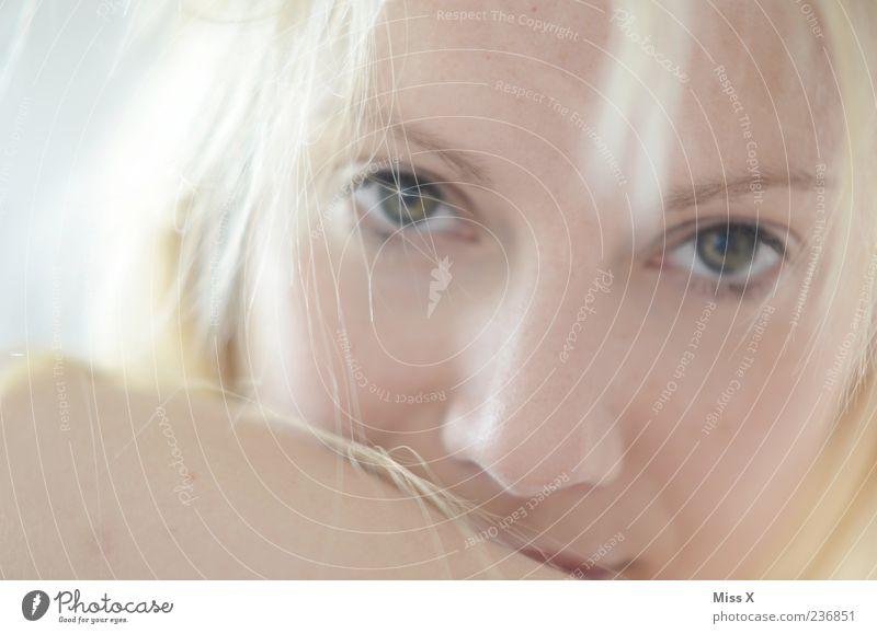 Hell Mensch feminin Junge Frau Jugendliche Haare & Frisuren Gesicht 1 18-30 Jahre Erwachsene blond langhaarig Blick schön Haarsträhne Farbfoto Gedeckte Farben