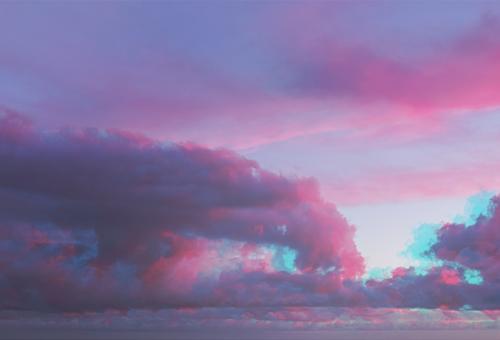 Abstrakte Aquarellfarbe ultraviolette Wolken schön Sommer Sonne Meer Tapete Natur Landschaft Himmel Horizont träumen blau rosa rot Farbe Störung Einfluss purpur