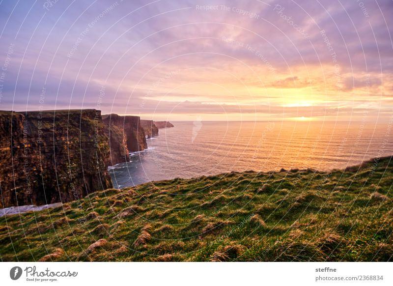 Cliffs of Moher im Sonnenuntergang Natur Landschaft Sonnenaufgang Sonnenlicht Frühling außergewöhnlich Bekanntheit Republik Irland Klippe Naturphänomene Kitsch
