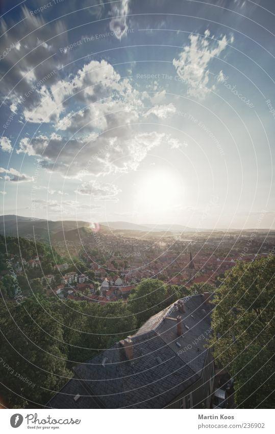 Im Harz Sonne Sonnenlicht Sommer Schönes Wetter Wernigerode Kleinstadt ästhetisch historisch Farbfoto Außenaufnahme Luftaufnahme Vogelperspektive