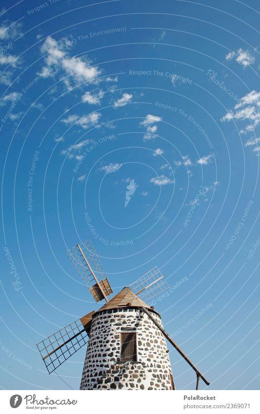 #AS# Blaue Mühle Kunst ästhetisch Windmühle Windmühlenflügel Windstille Windkraftanlage Fuerteventura Spanien Blauer Himmel Urlaubsfoto Farbfoto mehrfarbig