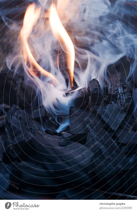 zündende Idee - für n Titel fehlt... heiß Energie Feuer schwelend brennen Rauchen Kohle Grillkohle Grillsaison Glut Farbfoto Gedeckte Farben Außenaufnahme