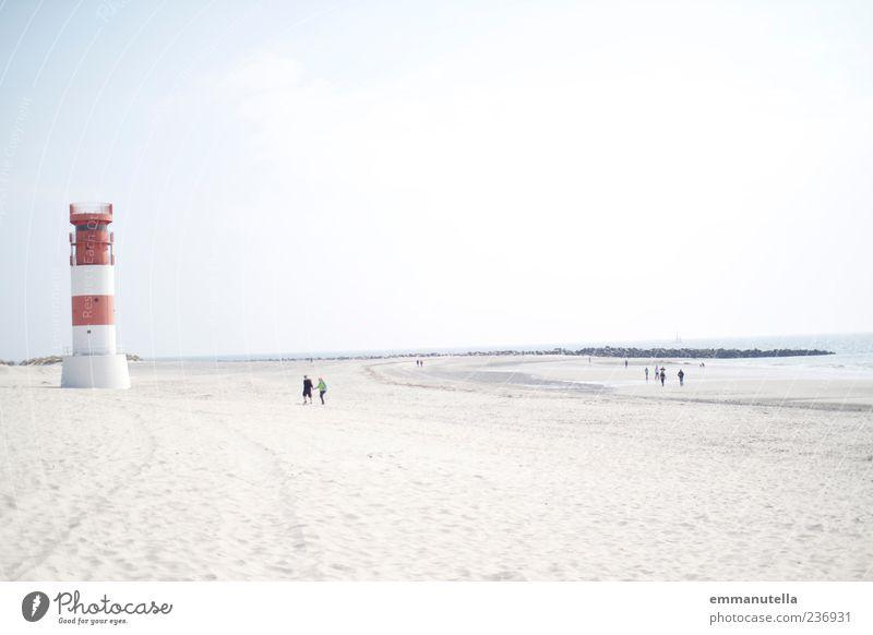 Helgoland Natur Landschaft Sand Wasser Himmel Wolkenloser Himmel Sommer Schönes Wetter Küste Seeufer Strand Nordsee Meer Insel Turm Leuchtturm Gebäude