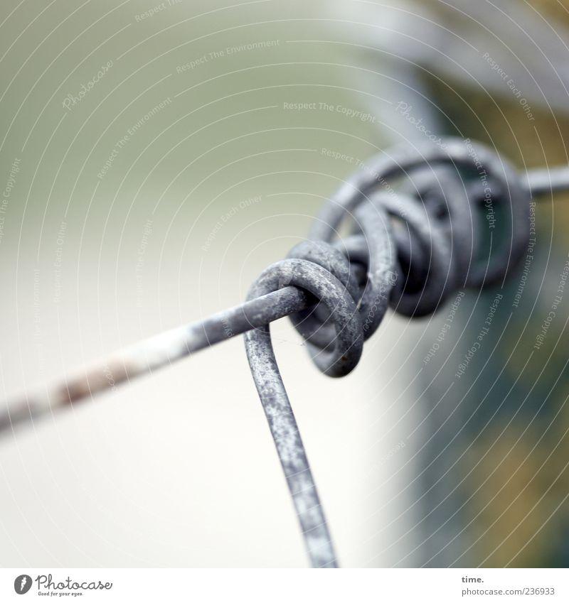 Spiekeroog | Seemannsdraht Sicherheit Draht Drahtseil Drahtzaun Grenze Zaun Befestigung Schlaufe verdreht Metall Metallzaun Pfosten gebunden Farbfoto