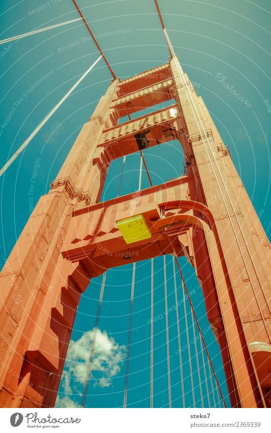 standing tall Los Angeles Wahrzeichen Golden Gate Bridge Bekanntheit groß hoch Stadt blau orange modern Perspektive Schwerpunkt Symmetrie Tourismus