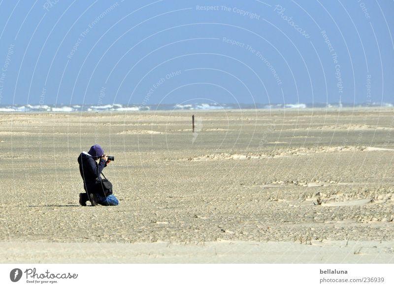 Spiekeroog | Bitte recht freundlich! Mensch Frau Himmel Natur Wasser Meer Sommer Strand Erwachsene Ferne Landschaft Leben Küste Sand Wellen Wind