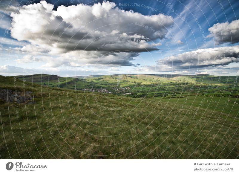 the place of my birth Himmel Natur grün Pflanze Sommer Wolken Ferne Landschaft Wiese Gras Horizont Wetter Wind wild außergewöhnlich authentisch