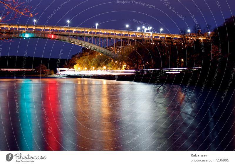 Bronx Connection alt weiß grün Stadt rot Straße Wege & Pfade Stimmung hoch Verkehr Brücke Coolness Schifffahrt Verkehrswege Abenddämmerung New York City