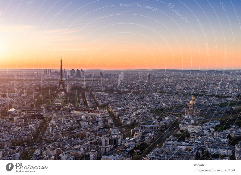 Paris Abendrot Ferien & Urlaub & Reisen Sommer Skyline Tour d'Eiffel Liebe Eiffel Tower France Urban Großstadt Architecture Tourism french cityscape view sky
