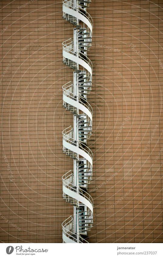 Treppen DNA weiß Wand Architektur Gebäude Mauer braun ästhetisch Unendlichkeit aufwärts silber aufsteigen Richtung Wendeltreppe