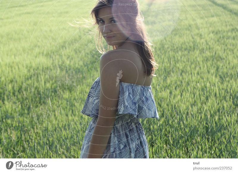 Die Prinzessin feminin Junge Frau Jugendliche Rücken Sonnenlicht Sommer Schönes Wetter Wind Gras Sträucher Feld Kleid Rüschenkleid brünett drehen Lächeln