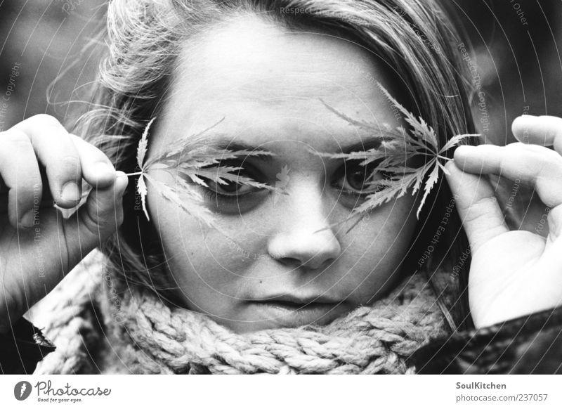 hide.. Mensch Jugendliche Gesicht Blatt feminin Erwachsene Schüchternheit Schal verdeckt Frauengesicht Frühlingsgefühle Junge Frau herbstlich Frauenaugen