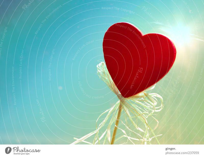 Sonne im Herzen (mit Gebimsel*) blau rot gelb Holz Dekoration & Verzierung Romantik Symbole & Metaphern Kitsch Schnur türkis Verliebtheit Scheibe Schleife