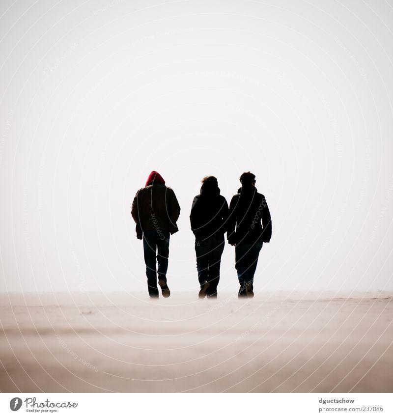 3 Ausflug Strand Meer wandern Mensch maskulin Frau Erwachsene Mann Sand Wolkenloser Himmel Nordsee gehen Gelassenheit ruhig Spaziergang Farbfoto Gedeckte Farben