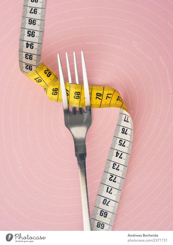 Diät, Gabel mit Maßband Ernährung Fasten Lifestyle Gesunde Ernährung Übergewicht Fitness gelb rosa ästhetisch Körperpflege cutlery diet dieting exercise fat fit