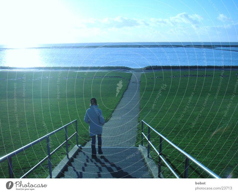 ... so weit das Auge reicht kalt Wiese Meer See Deich Ferne gehen Frau Klarheit blau Himmel Treppe Wege & Pfade Wasser Geländer whoiscocoon
