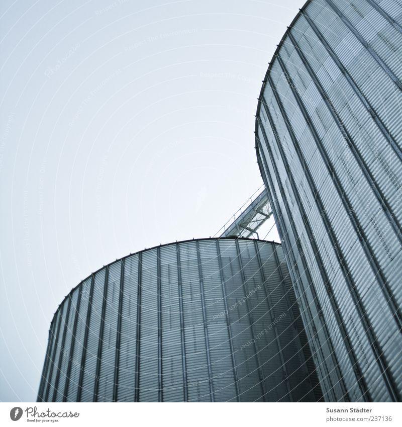 silo Energiewirtschaft Turm Bauwerk Fassade rund Getreidesilo Silo Industrie Industriefotografie Außenaufnahme Dämmerung Froschperspektive grau Menschenleer