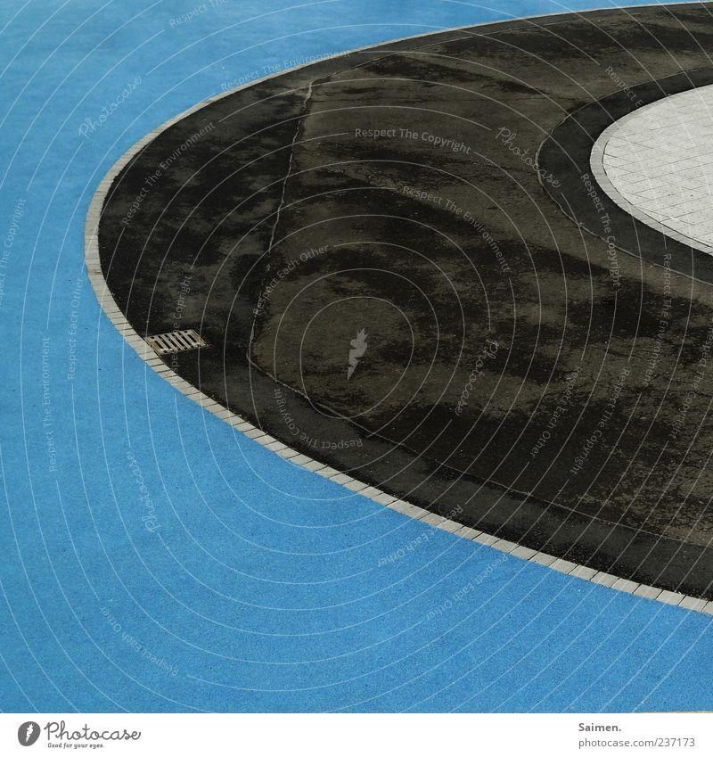 plattenteller blau schwarz außergewöhnlich Platz Bodenbelag rund Sauberkeit Asphalt Spielplatz kreisrund Tartan