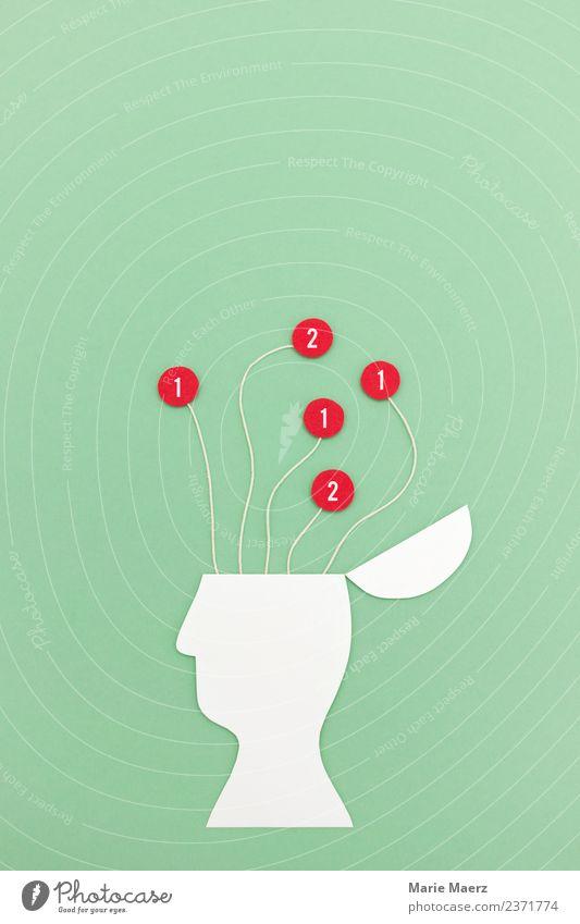 Gehirn füttern mit Informationen & Nachrichten-Signalen Wissenschaften lernen Informationstechnologie Kopf 1 Mensch Denken nerdig grün rot Neugier Stress