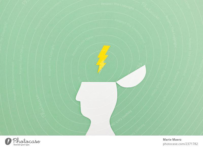 Geistesblitz - Blitz Symbol über aufgeklapptem Kopf Mensch grün Denken Kreativität Erfolg Beginn lernen Idee Wandel & Veränderung einfach Neugier planen