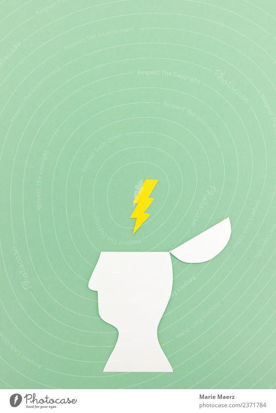 Gedankenblitz - Kopf Silhouette mit Blitz Symbol - ein lizenzfreies ...